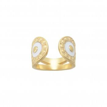 Bague Opale Email blanc