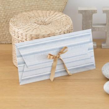 Enveloppe cadeau réutilisable MAUD Bleu Rayure