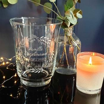 Grand photophore / vase personnalisé en verre gravé main
