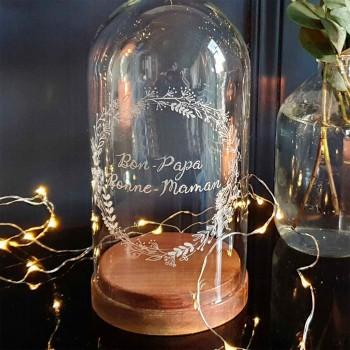 Cloche décorative en verre socle bois, gravée main