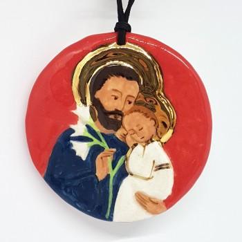Grand médaillon saint Joseph en céramique et or fin
