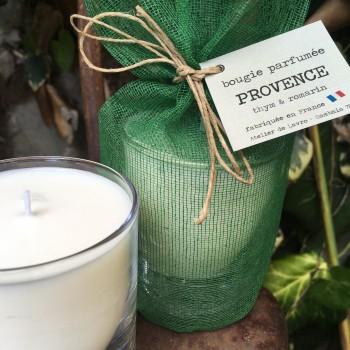 Bougie parfumée «Provence» senteur thym et romarin dans son pochon de coton vert