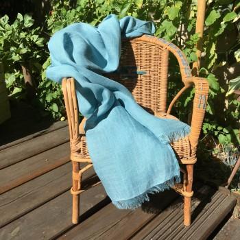 Écharpe mixte en pur lin 60 cm x 200 cm bleu tropique