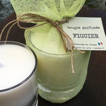 Bougie parfumée «Figuier» dans son pochon de coton vert anis