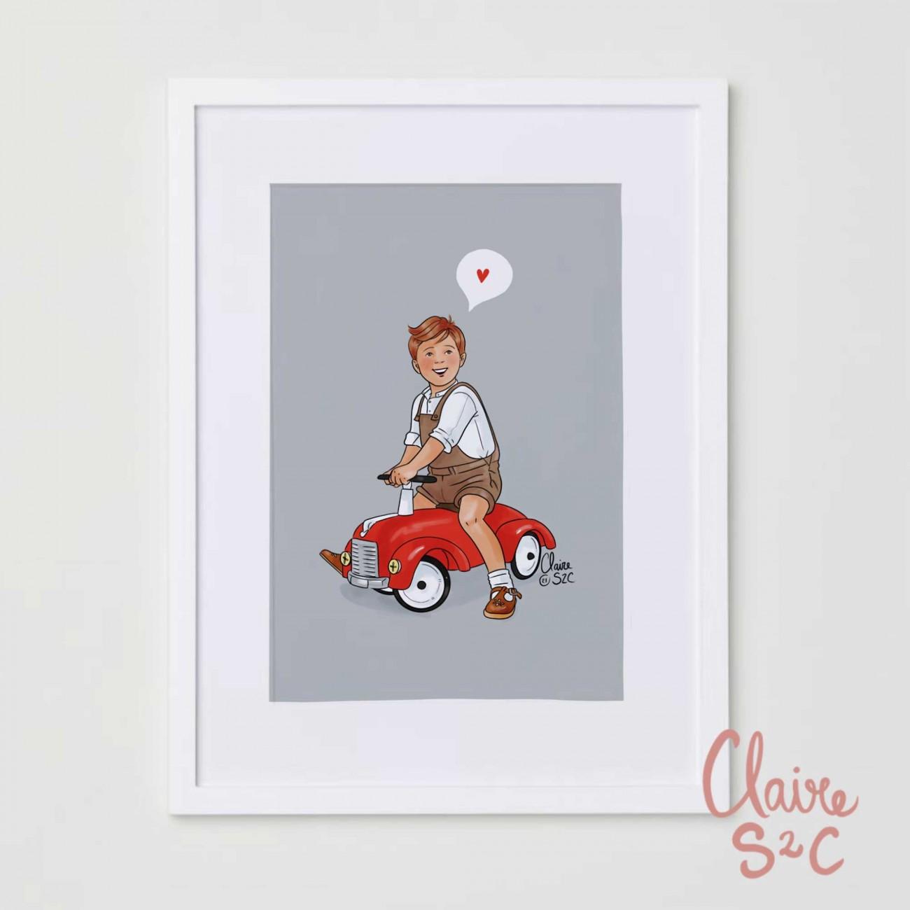 Petit garçon à la voiture rouge